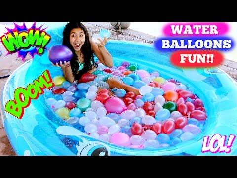 WATER BALLOON FIGHT!! 4th of July Balloons Summer Fun!B2cutecupcakes