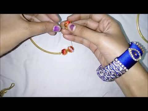 How to do choker necklace in home easy way/silk thread diy