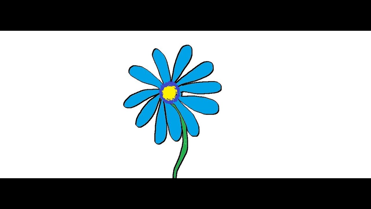 Blue Daisy Flowers Draw Flower Blue Daisy