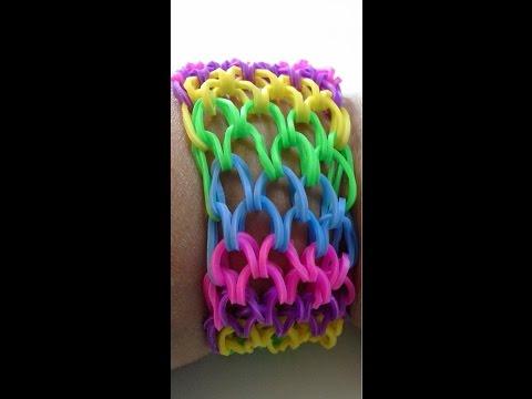 como hacer pusera escamas de dragón español facil con tenedor rainbow loom bands