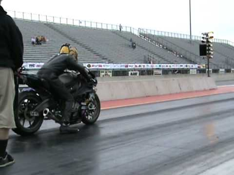 9 second Black Bmw s1000RR motorcycle drag racing AMA 2010