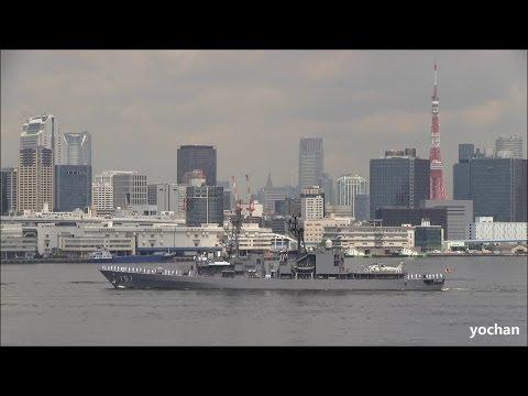 Destroyer of JMSDF.Asagiri-class: JS ASAGIRI (DD 151) leave port (Tokyo)