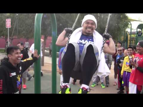 MANNY PACQUIAO PLAYS ON SWING After Workout for Manny Pacquiao vs Floyd Mayweather