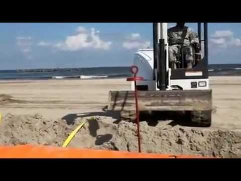 Tiger Dam installation on Grand Isle, LA (BP oil spill)