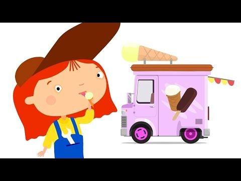 Kids cartoons. Ice cream car cartoon.