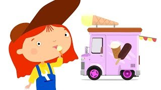 Kids cartoons. Ice cream car cartoon.