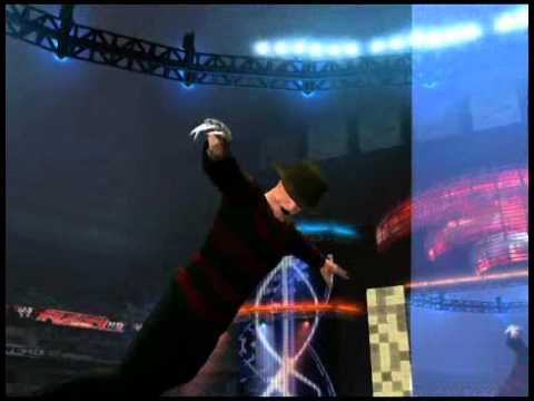 Freddy Krueger jumps off ladder, goes through table. (WWE12)