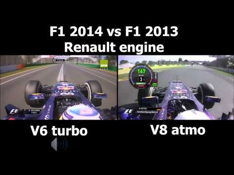 F1 V6 turbo vs V8 engine sound Redbull Renault 2014 vs 2013