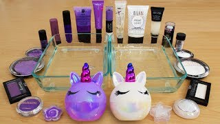Purple vs White - Mixing Makeup Eyeshadow Into Slime! Special Series 147 Satisfying Slime Video