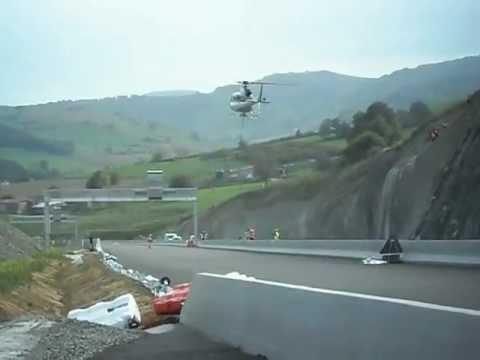 décolage d'hélicoptere sur A89 chantier ASF