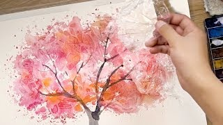 How to Paint Watercolors using Cooking Paper and Cling Film - Painting Techniques