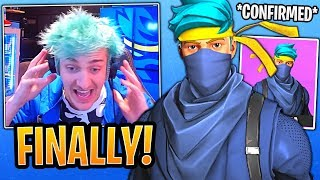 "Ninja Reacts to *NEW* Personalized ""NINJA"" Skin CONFIRMED by Epic Developer?! - Fortnite Moments"