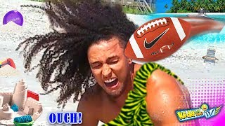 TARZAN vs FOOTBALL 🍌 1st Time @ BEACH Reaction! Monkey Man Making New Friends || KIDDin Me TV