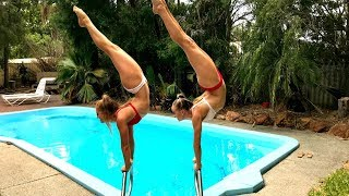 Acro Gymnastics in our NEW POOL!
