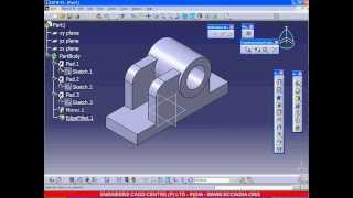 CATIA PART MODELING EXERCISE- 1 (WITH VOICE)