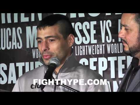 LUCAS MATTHYSSE ON KNOCKOUT OF ROBERTO ORTIZ I WISH HE WOULD HAVE GOT UP