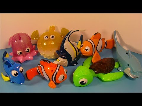 2003 DISNEY PIXAR'S FINDING NEMO SET OF 8 McDONALD'S HAPPY MEAL MOVIE TOY'S VIDEO REVIEW