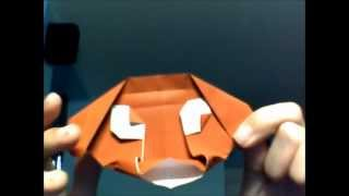 Origami Funny-looking Dog Face By Jeremy Shafer