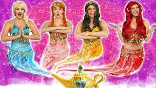 DISNEY PRINCESS GENIES! (What Happens to Ariel, Elsa, Belle, Jasmine, Rapunzel and Anna?)