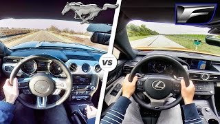 Ford Mustang GT vs Lexus RC F ACCELERATION SOUND POV by AutoTopNL