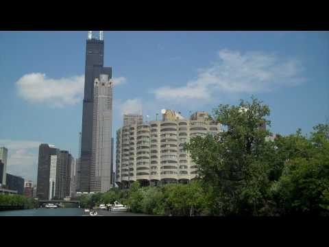 River City, 311 S Wacker, Sears Tower (Willis) from lakebound water taxi on Chicago River Video