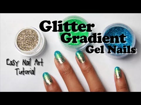 Glitter Gradient Gel Nails with Loose Glitter (easy nail art tutorial)