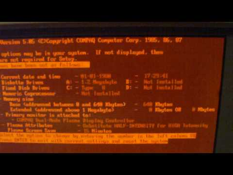 Compaq Portable III - an early DOS machine - booting up showing diagnostic and setup and playing TETRIS; the Compaq Portable III is the first machine with a ...