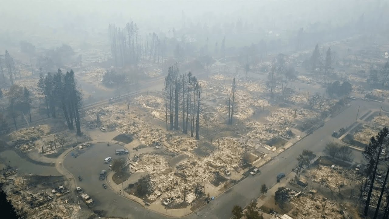 Drone footage shows devastation caused by California fire
