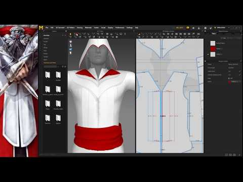 3d dress modeling for Assassin's Creed character in marvelous designer
