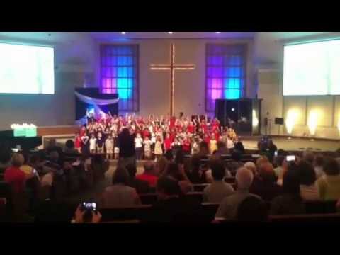 Alyssa preschool at Alta Loma Christian School singing at the chapel