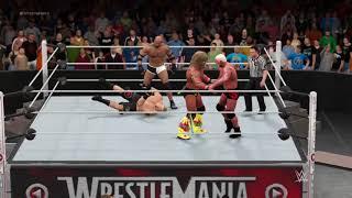 WWE 2K17 Goldberg and Scott stainer vs Warrior and Brock Lesnar