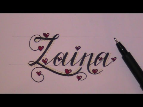 cursive fancy letters how to draw a name - example - YouTube