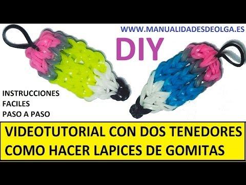 COMO HACER UN LAPIZ DE GOMITAS (LIGAS) CHARMS CON DOS TENEDORES. VIDEOTUTORIAL D
