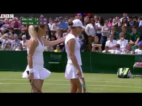 Wimbledon Tennis 2014 Doubles server smashes partner in head