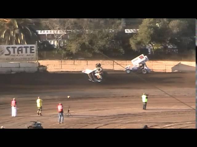 King of the West Sprint Car Crash @ Ventura Raceway 9/13/14