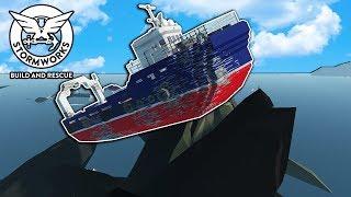 100 Megalodons vs Huge Tsunami! - Stormworks Gameplay - Sinking Ship Survival