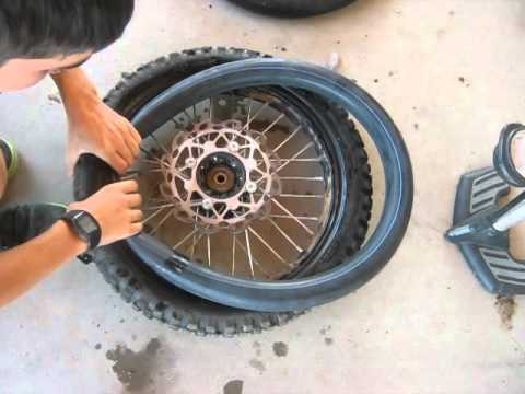 how to change a ditrbike/pit bike tire/innertube