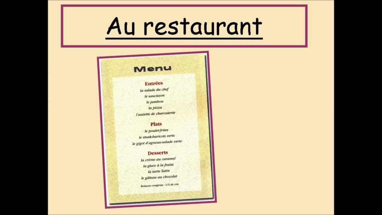 Menu Cafe France En Francais