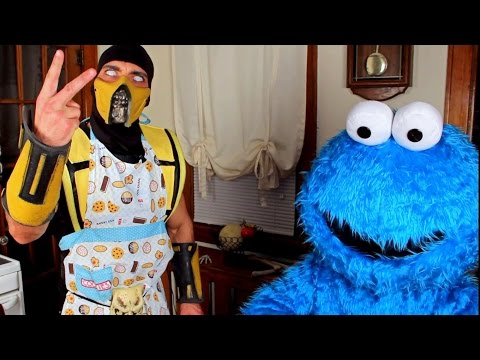 Scorpion & Cookie Monster make Cookies! (Cooking With Scorpion #4) Mortal Kombat