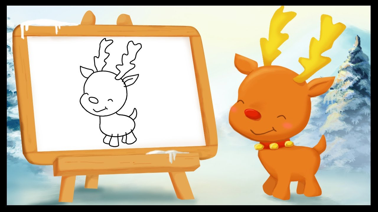 Comment dessiner un renne de no l youtube - Dessiner noel ...