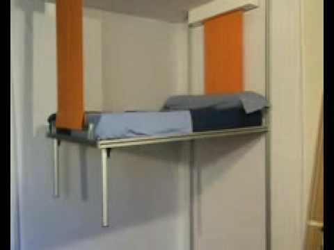 La cama que baja del techo cama elevable con motor youtube - Cama con techo de tela ...