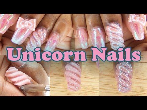 Unicorn Nails w/ 3D Acrylic Bows   Acrylic Nail Design   LongHairPrettyNails
