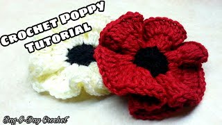 CROCHET How to #Crochet Easy Poppy Flower #TUTORIAL #138 LEARN CROCHET