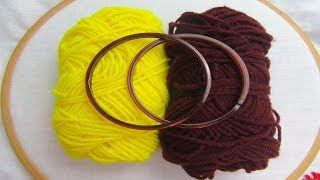 Hand Embroidery Amazing Trick, Easy flower embroidery trick with bangles