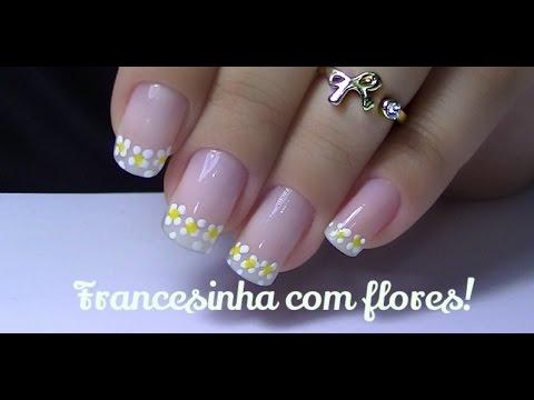 Unhas francesinhas feitas com flores!! - Tutorial por Danielle