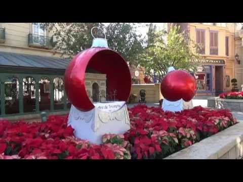 Epcot Christmas Displays and Decorations 2014 Including Future World & World Showcase