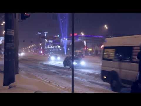 Лазерная реклама. Жилой комплекс Манхэттен. февраль 2014г. Челябинск.