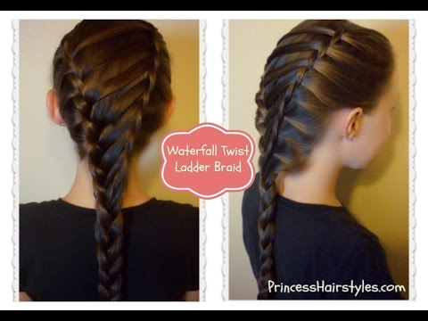 Hair Style Vidoes : Waterfall Twist Ladder Braid Hairstyle, School Hairstyles - YouTube