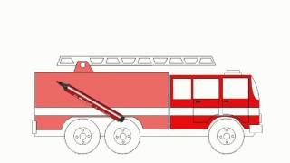 "Learning colors. Coloring book ""Colorful vehicles!"". Let's color a fire-engine!"