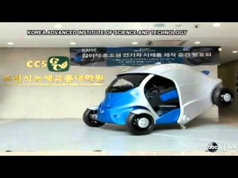 The electric car which folds up to park